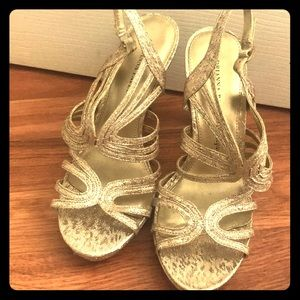 Gold special occasion heels
